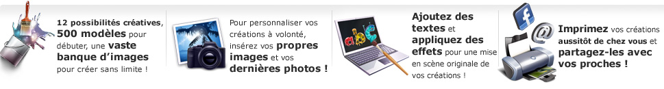 Printpratic : 500 modles, vaste banque d'images pour personnaliser ses photos, effets sur les textes. Imprimer et partager ses crations