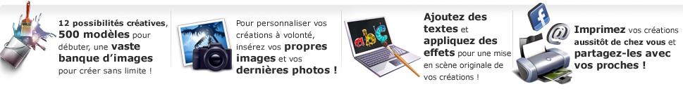 Printpratic : 500 modèles, vaste banque d'images pour personnaliser ses photos, effets sur les textes. Imprimer et partager ses créations